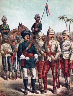 Soldiers of the Indian Army in Egypt (the Seaforth Highlanders still wear the trews of the old 72nd Regiment).