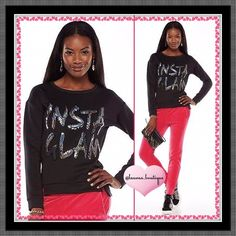 """Juicy Couture Black Sequin """"INSTA GLAM"""" Sweatshirt HPNWT Juicy Couture black sequin embellished """"INSTA GLAM"""" sweatshirt features a silver """"juicy"""" charm at the back color, bold sequin embellished graphics, polyester/spandex scuba material, Vented drop-tail hem, handwash  *S 4-6 (Chest 36""""; Length Front 23""""/Back 25"""") *M 8-10 (Chest 38"""", Length Front 24""""/Back 26"""") *XL 16-18 (Chest 46"""", Length Front 24""""/Back 26"""") *Bundle Discounts, Smoke-Free, No Trades Juicy Couture Tops Sweatshirts & Hoodies"""