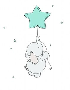 Baby Elephant Star Balloon *Be sure to select your size in the drop down box above. You can customize this print to any colors you