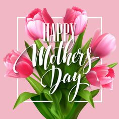 Illustration of Happy Mothers Day lettering. Mothers day greeting card with Blooming Tulip Flowers. Vector illustration vector art, clipart and stock vectors.