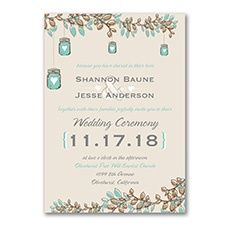 Country Charm - Invitation Perfect country charm is captured on this invitation through color, hearts, and mason jars. Fall Wedding, Rustic Wedding, Country Charm, Confetti, Wedding Events, Mason Jars, Wedding Invitations, Place Card Holders, Cards