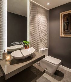 Half Bathroom design Want to refresh your small bathroom decor? Here are Cute and Best Half Bathroom Ideas That Will Impress Your Guests And Upgrade Your House. Gray Bathroom Walls, Bathroom Flooring, Small Bathroom, Bathroom Ideas, Shower Ideas, Modern Bathroom Design, Bath Design, Bathroom Interior Design, Bathroom Designs