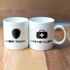 Tank Healer Matching Mugs, Gamer Couple Mugs, Matching Gamer Mugs, Geeky {Couples} Mugs, Gamer Items Geek Couple, Couple Mugs, Couple Goals, Gamer Tattoos, Couple Room, Gaming Tattoo, Valentines Mugs, Game Room Design, Gamer Room