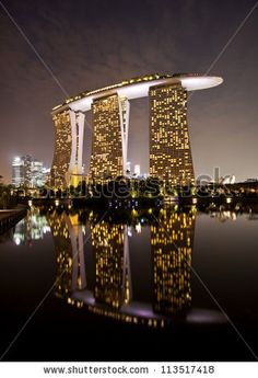 stock photo : SINGAPORE - SEPTEMBER 10, 2012: Marina Bay Sands, designed by Moshe Safdie, the integrated resort casino and shopping center in Singapore. Sept 10 2012