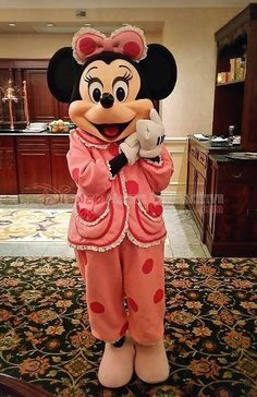 Minnie Mouse in her polka dot jammies.