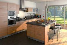 Cuisine avec îlot par Lapeyre couleur bois et gris http://www.m-habitat.fr/amenagement/ilot-central/notre-selection-des-plus-belles-cuisines-avec-ilot-50_R