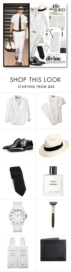 """""""WHITE FOR MEN"""" by purplerose27 ❤ liked on Polyvore featuring Banana Republic, Christian Louboutin, Scala, hook + Albert, Chanel, Luminox, The Art of Shaving, GLOSS Moderne, Gucci and men's fashion"""