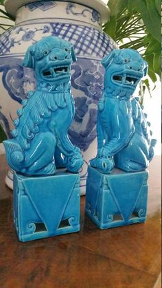 Turquoise Foo Dogs 7.8 inches / chinoiserie chic / Chinese