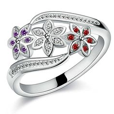 Surprising Women's Elegant Silver Plated Flower Wedding Rings Fashion Jewelry ** Click image for more details.