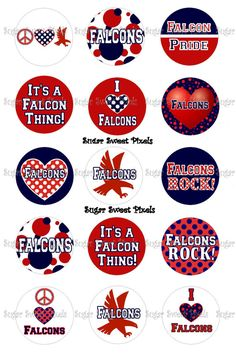 INSTANT DOWNLOAD Red Navy  Falcons  School by sugarnspicebow