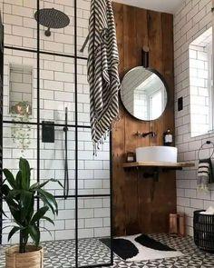 40 Gorgeous Modern Scandinavian Bathroom Ideas Industrial Bathroom Design, Modern Bathroom Design, Bathroom Interior Design, Scandinavian Bathroom Design Ideas, Boho Bathroom, Bathroom Inspo, Bathroom Layout, Bathroom Signs, Bath Design