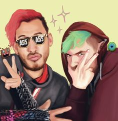 givemtheolrazzledazzle:  Ok so @markiplier and @therealjacksepticeye were looking super swaggy in this photo and I really wanted to draw it.      Coolio :D