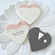 heart shaped bride cookie, heart shaped groom cookie