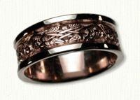 Celtic Triangle Knot Wedding Band with 2 Ravens. 14kt rose center/white rails