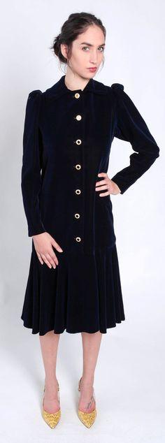 Saint Laurent Vintage Deep Blue Velvet Drop Waist Dress Size 38/6