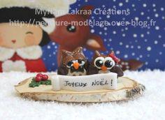 Décoration pour Noël, hiboux (christmas ornament) - Pâte polymère Fimo (polymer clay) - 2014 - Myriam Lakraa Créations