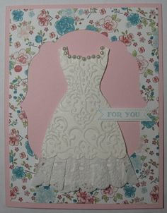 Embossed Dress Stamps: Itty Bitty Banners Paper: Shimmery White, Pink Pirouette, Twitterpated DSP, Whisper White Ink: Baja Breeze Accessories: Paper Doily, Labels framelits, All Dressed Up, Lacy Brocade folder, basic pearls