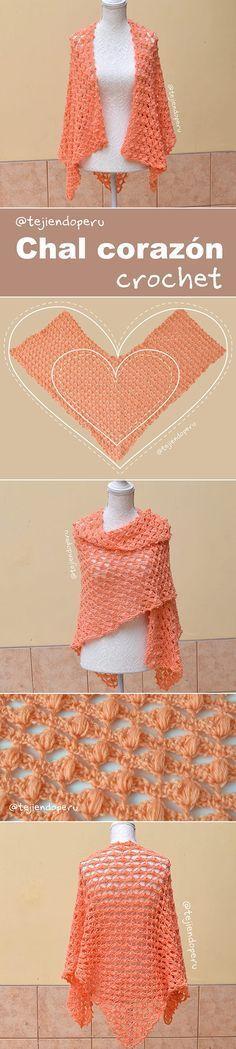 Chal corazón tejido a crochet paso a paso en video tutorial :)