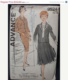 SALE 1960s Misses' Suit Sewing Pattern Two Skirts door kinseysue, $9.00