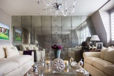 Wall mirror decor ideas mirrored walls in living rooms mirrored walls in living rooms monumental wall decor best mirror decorating mirror wall decor ideas Living Room Mirrors, Living Room Furniture, Living Room Decor, Living Rooms, Antique Mirror Tiles, Antiqued Mirror, Pinterest Wall Decor, Mirror Panel Wall, Living Room