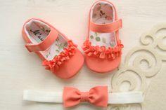 Zapatos de bebé coral zapatos de bebé naranja coral y arco