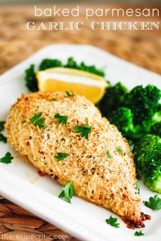 Baked Parmesan Garlic Chicken - Don't use only 2 chicken breast with all the seasoning; it is too much flavor.