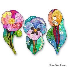 @kimikahara • Instagram写真と動画 Embroidery Art, Embroidery Designs, Small Flowers, Fabric Flowers, Pattern Design, Brooch, Beads, Projects, Crafts