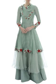 Buy Blue draped collar tunic with palazzo by Incheetape at Aza Fashions Kurti Designs Party Wear, Kurta Designs, Blouse Designs, Latest Kurti Designs, Pakistani Dress Design, Pakistani Dresses, Eid Dresses, Wedding Dresses, Indian Designer Outfits