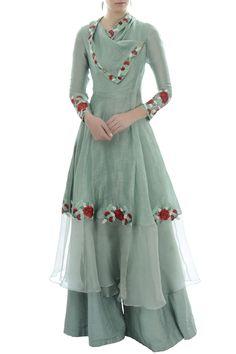 Buy Blue draped collar tunic with palazzo by Incheetape at Aza Fashions Sharara Designs, Kurti Designs Party Wear, Pakistani Dress Design, Pakistani Dresses, Eid Dresses, Wedding Dresses, Indian Designer Outfits, Designer Dresses, Hijab Fashion