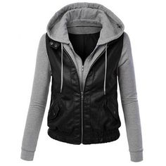 $29.44 Chic PU Splicing Convertible Long Sleeve Color Block Hoodie For Women