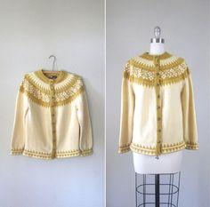 Vintage 1960s Nordic Cardigan // 60s Mustard Yellow Wool Fair Isle Knit Sweater // Medium. $40.00, via Etsy. Norwegian Knitting, Hand Knitted Sweaters, Fair Isle Knitting, Vintage Sweaters, Wool Cardigan, Mustard Yellow, 1960s, High Fashion, Knitwear