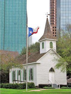 Downtown Houston - Sam Houston Park - Historic Church