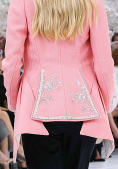 Timeless elegant chic delicate metallic floral embroidered peacock tail neon pink wool long jacket / coat  Christian Dior Fall Winter 2014 #Couture #FW2014 #HauteCouture