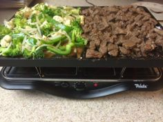 Beef stir fry... That's what's for dinner! YUM!!! ~  Create memorable meals or parties with the Velata Raclette Tabletop Grill. Borrowing a centuries-old Swiss tradition, the Velata Raclette is an easy-to-use appliance that allows you to cook delicious meals at the table. https://jamiebatts.velata.us
