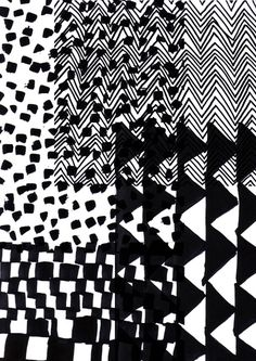 Patterns blending into each other. Monochrome Pattern, Black White Pattern, Black And White Design, White Patterns, Color Patterns, Print Patterns, Monochrome Print, Monochrome Painting, Motifs Organiques