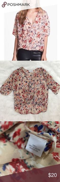 WAYF Floral Sheer Blouse This blouse is in excellent condition! Size XS. Smoke and pet free home. No trades. Reasonable offers accepted! Nordstrom Tops Blouses