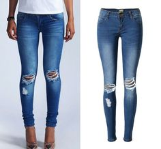 Low Waist Super Elastic Knee Hole Jeans Women Fashion Slim Pencil Blue Skinny Jeans Push Up Hip Vintage Pants Trousers