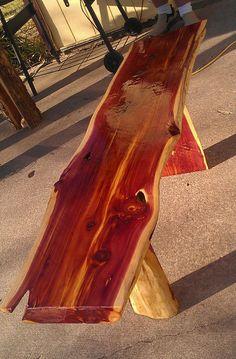 Hand Crafted Cedar Bench in Outdoors Garden - Etsy Home Living Cedar Table, Cedar Bench, Cedar Wood, Red Cedar, Cedar Furniture, Rustic Furniture, Building Furniture, Woodworking Bench, Woodworking Projects
