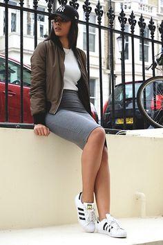 pinterest: Ciara | Items in this look: New Era Ny 9 Forty Cap, Topshop Khaki Bomber, Topshop Grey Midi Bodycon Skirt, Adidas Original Superstar Trainers   #casual #sporty #street