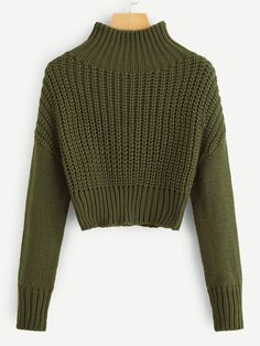To find out about the Mock-neck Drop Shoulder Crop Jumper at SHEIN, part of our latest Sweaters ready to shop online today! Cropped Pullover, Cropped Sweater, Jumper, Shein Pull, Pull Court, Fashion News, Fashion Outfits, Looks Vintage, Green Fashion