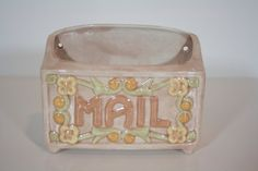 Vintage Glazed Ceramic Mail Wall Vase Marked and by patchoulired, $24.00  *Each purchase comes with a free sewn fabric tie bag handmade by yours truly ;D