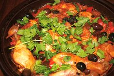 Moroccan: Traditional Olive and Chicken Tagine Recipe.