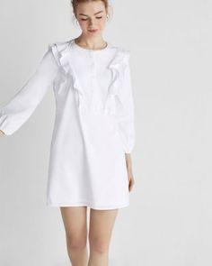 ruffle front shirt dress