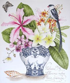 Original watercolour painting by Kelly Higgs. Pink Hibiscus, white Frangipani and Pin-tailed Whyda.