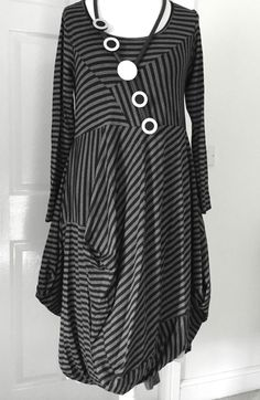 stunning designer quirky/lagenlook ROYAL parachute dress size M/L stripe #ROYAL #dress