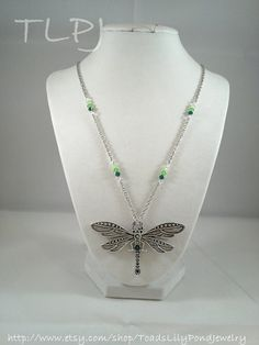 Love this!!! Especially the shades of green.....Dragonfly necklace - dragon fly jewelry  handmade. $23.00, via Etsy.