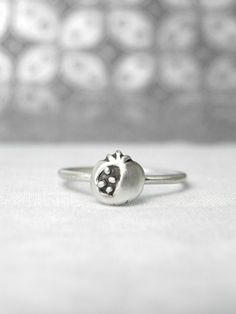 Pomegranate Fruit Sterling Silver Stacking by MelissaDawnJewelry