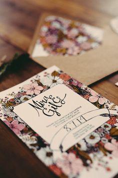 floral wedding invitations, photo by JBM Weddings http://ruffledblog.com/handsome-hollow-wedding-ideas #weddinginvitations #stationery