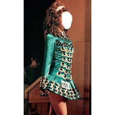 Elegant Green Shamrock Stitchery Irish Dance Dress Solo Costume For Sale