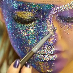 Behind the scenes at Karla Cosmetics  The photographer captured me working half way through one of my looks for my Karla Cosmetics campaign ready for my new product launch this July at IMATS. Can you tell glitter is my favourite item in my make-up kit ?KarlaX
